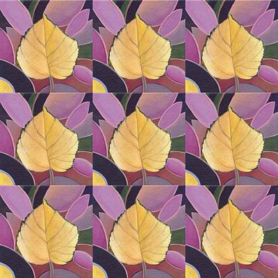 Painting - Nine Golden Leaves 2 by Helena Tiainen