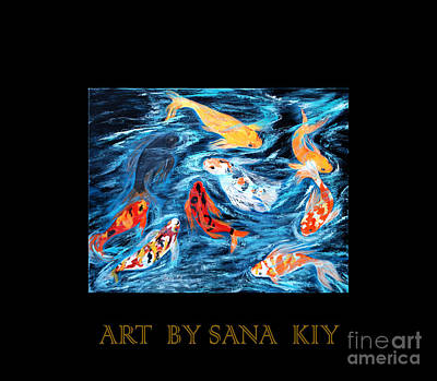 Painting - Nine Koi Fish. Inspirations Collection. by Oksana Semenchenko
