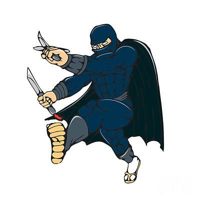 Manga Digital Art - Ninja Masked Warrior Kicking Cartoon by Aloysius Patrimonio