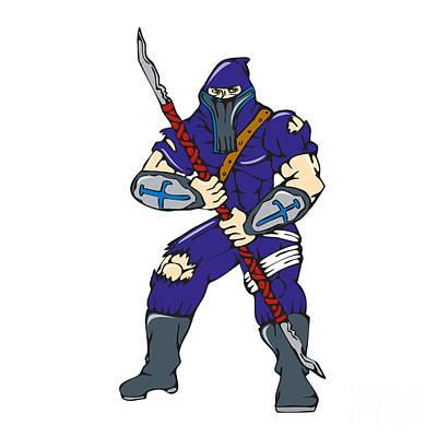 Manga Digital Art - Ninja Masked Warrior Spear Cartoon by Aloysius Patrimonio