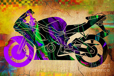 Kawasaki Mixed Media - Ninja Street Bike  by Marvin Blaine