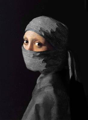Ninja With A Pearl Earring Under Her Cowl Art Print by Del Gaizo
