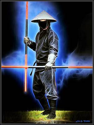 Painting - Ninja With Staves by Jon Volden