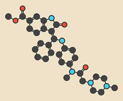 Nintedanib Cancer Drug Molecule Art Print