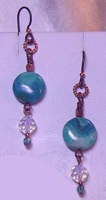Opalite Jewelry - Niobium Copper Dyed Agate Opalite And Crystal Earrings by Ann Mooney