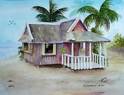 Nipa House Painting - Nipa Hut by Jelly Starnes