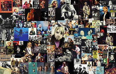Music Digital Art - Nirvana Collage by Taylan Apukovska
