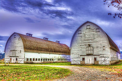Photograph - Nisqually Twin Barns by Barry Jones