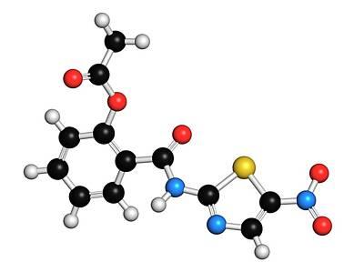 Nitazoxanide Antiprotozoal Drug Molecule Art Print by Molekuul