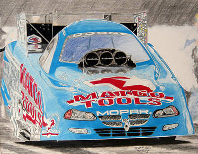 Funny Car Drawing - Nitro Funnycar by Ronald Young