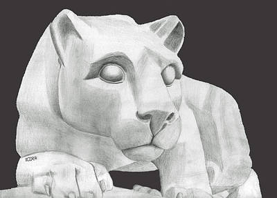 Drawing - Nittany Lion Statue by Pat Moore