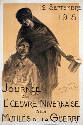 Wwi Drawing - Nivernaise Day For The War Disabled by Maurice Louis Henri Neumont