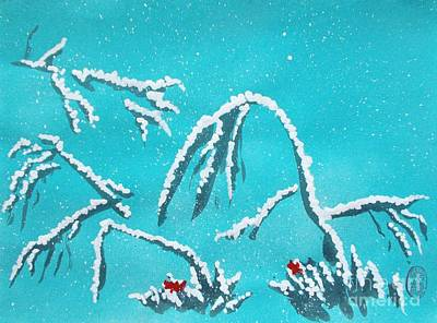 First Snow Painting - Niwa Ni Hatsuyuki by Roberto Prusso