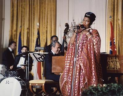 Blue Dick Photograph - Nixon At The Piano. Pearl Bailey Sings by Everett
