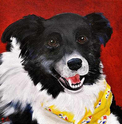 Herding Dog Painting - Nixon by Debi Starr