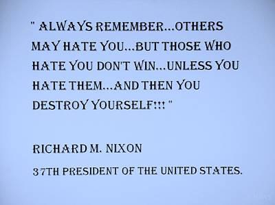 Potus Digital Art - Nixon Quote In Cyan by Rob Hans