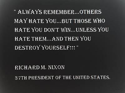 Potus Digital Art - Nixon Quote In Negative by Rob Hans