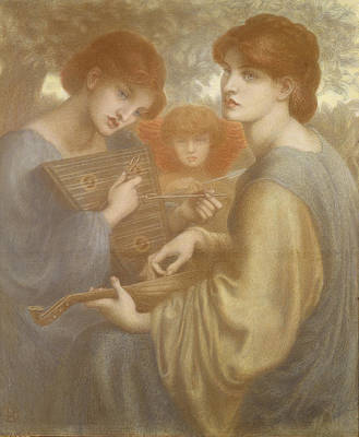 Lute Drawing - No. 1011 Study For The Bower Meadow by Dante Gabriel Charles Rossetti