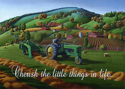 Bales Painting - no 21 Cherish the little things in life 5x7 greeting card  by Walt Curlee
