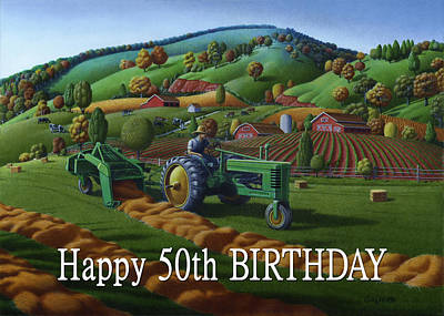 Thomas Benton Painting - no 21 Happy 50th Birthday 5x7 greeting card  by Walt Curlee