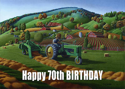 Bales Painting - no 21 Happy 70th Birthday 5x7 greeting card  by Walt Curlee