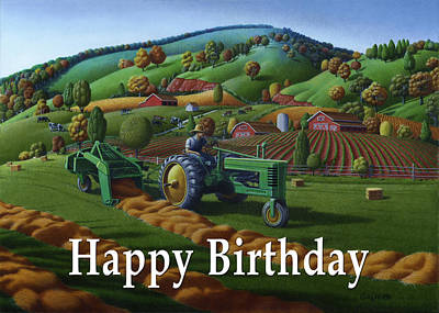 Bales Painting - no 21 Happy Birthday 5x7 greeting card  by Walt Curlee