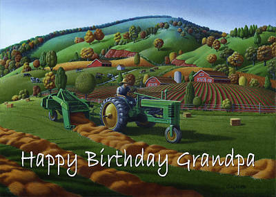 Bales Painting - no 21 Happy Birthday Grandpa 5x7 greeting card  by Walt Curlee