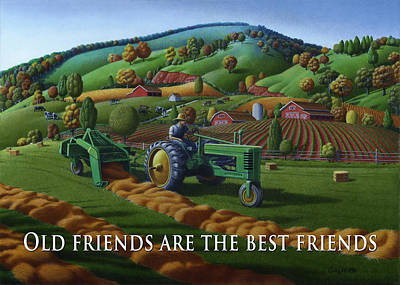 Bales Painting - no 21 Old friends are the best friends 5x7 greeting card  by Walt Curlee