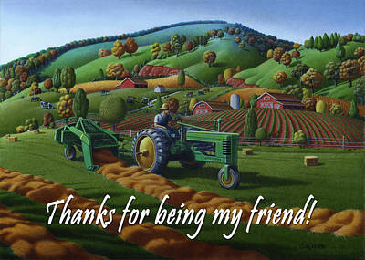 Bales Painting - no 21 Thanks for being my friend 5x7 greeting card  by Walt Curlee
