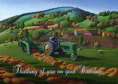 Bales Painting - no 21 Thinking of you on your birthday 5x7 greeting card  by Walt Curlee