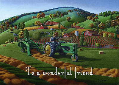 Bales Painting - no 21 To a wonderful friend 5x7 greeting card  by Walt Curlee