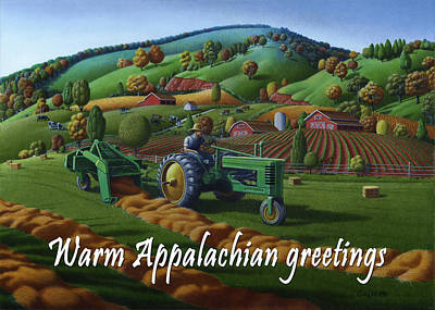 Bales Painting - no 21 Warm Appalachian greetings 5x7 greeting card  by Walt Curlee
