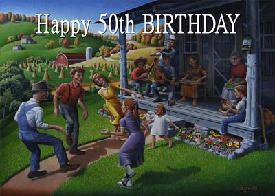 No 23 Happy 50th Birthday Greeting Card Original by Walt Curlee