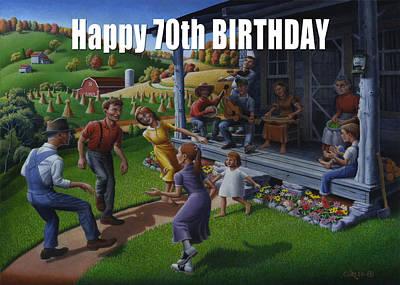 No 23 Happy 70th Birthday Greeting Card Original by Walt Curlee