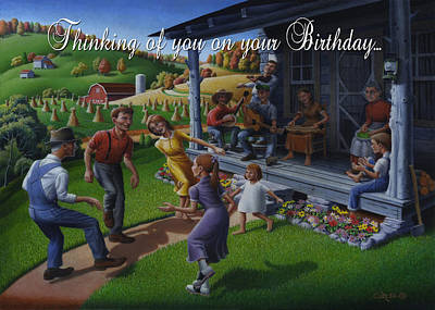 No 23 Thinking Of You On Your Birthday Greeting Card Original by Walt Curlee