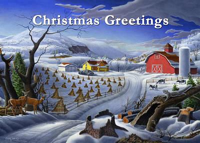 no 3 Christmas Greetings 5x7 greeting card  Original