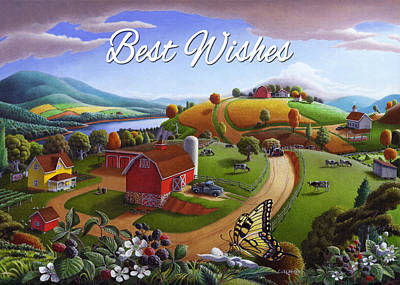 no 7 Best Wishes 5x7 greeting card  Original by Walt Curlee