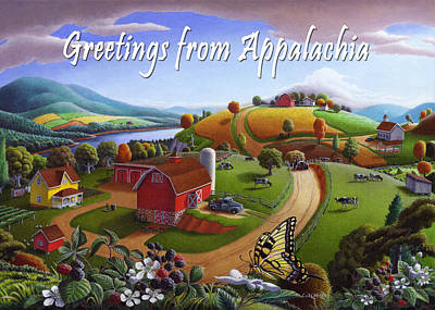 no 7 Greeting from Appalachia 5x7 greeting card  Original by Walt Curlee
