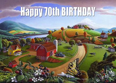 no 7 Happy 70th Birthday 5x7 greeting card  Original