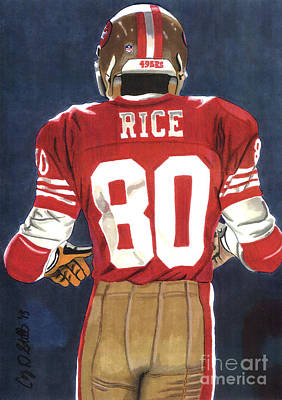 Football Drawing - No. 80 by Cory Still