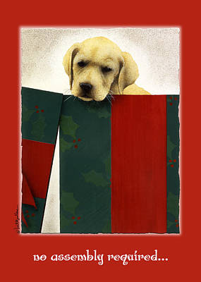 Dog Christmas Cards Wall Art - Painting - No Assembly Required... by Will Bullas