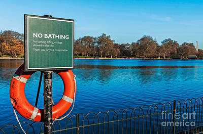 Photograph - No Bathing Sign by Luis Alvarenga