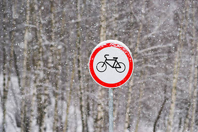 Stop Sign Photograph - No Bikes by Alexander Senin