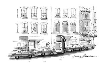 Street Car Drawing - No Caption by Bernard Schoenbaum