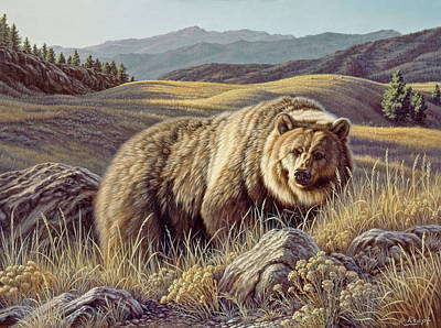 Grizzly Bear Painting - No Contest by Paul Krapf