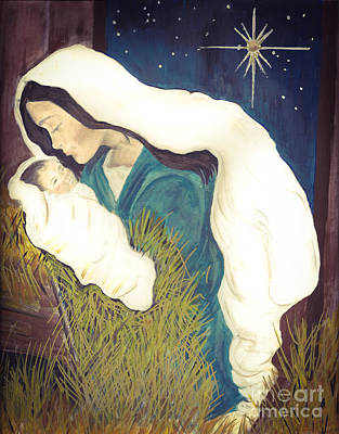 Painting - No Crib For His Head - Baby Jesus And Mother Mary - Bethlehem by Jan Dappen
