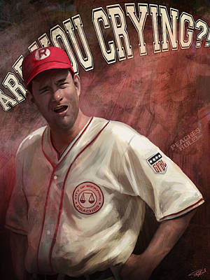 Peach Digital Art - No Crying In Baseball by Steve Goad