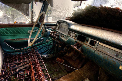 Old Photograph - No Cushion In An Old Car by Greg Mimbs