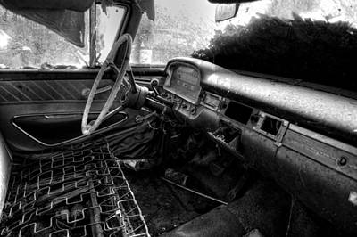Old Photograph - No Cushion In An Old Car In Black And White by Greg Mimbs