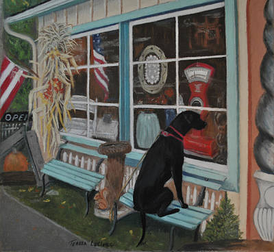 Store Fronts Painting - No Dogs Allowed by Teresa LeClerc